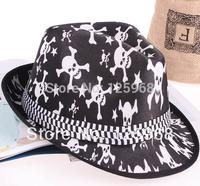 Free Shipping! 2014 New 5pcs/lot Fashion Men/Women Adult Skull Design fedoras jazz hat fashion cap casual hat 4 Colors