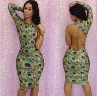 2014 New Club Dress Novelty Peacock Bandage Dresses Woman Printed Bodycon Club Wear Long Sleeve Knee Length Evening Dress YH023