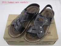 2014 New Summer  Men Shoes high quality pu leather Men's Flip-Flops Summer Casual Sandals Beach shoes Black size 40-42