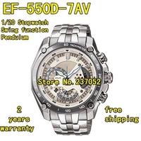 New EF-550D-7AV Men's Chronograph Sport Watch EF-550D EF 550D White Dial Wristwatch With 1/20 Stopwatch Pendulum Function