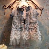 2014 new arrival kids baby girls children's lace denim vest,child girl jeans girl's lace denim clothes 5pcs/lot wholesale