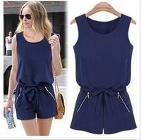 New 2014 brand designed summer chiffon jumpsuit women sleeveless zipper pocket jumpsuits shorts overalls rompers womens jumpsuit