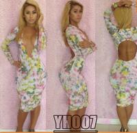 Digital Print Prom Bandage Dress new 2014 sexy bodycon club Blossom Glam dress long sleeve women evening party dresses YH007