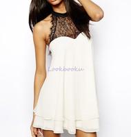 Women's fashion high-necked black lace sleeveless stitching chiffon peplum blouse high quality