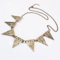 Hot Selling Free Shipping Fashion High Quality Punk Silver Bronze Triangle Stripe Necklace N