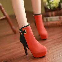 2015 OL temperament spell color matte boots. Elegant high-heeled side zipper Martin boots waterproof boots.SIZE 34-43