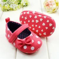 Girl Infant White Polka Dot Bowknot Crib Shoes Toddler Prewalker Anti-slip Shoes Free &Drop shipping