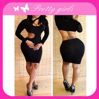 Graceful Black Cut Out Night Dress cheap clubwear dress
