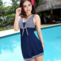 Female hot spring swimwear one-piece dress steel push up plus size