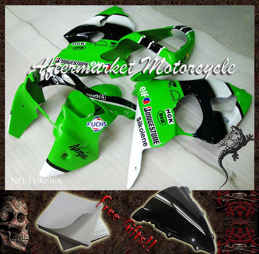 For Kawasaki ZX6R 2000 2001 green black white ZX-6R 2000 2001 2002 ZX-6R 2000-2002 Ninja ABS Fairing Set Plastic Kit 18(China (Mainland))
