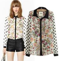 2014 summer sos flower print polka dot patchwork long-sleeve shirt chiffon shirt