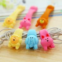 3037 Free shipping minimum order $10 (mix order) cute cartoon button earphones cable winder sealing clip 4 pcs/set