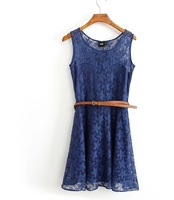 Women's tank 2014 summer dress sos involucres lace candy color sleeveless one-piece dress