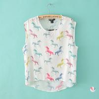 Mm 2014 summer new arrival chiffon sleeveless shirt sleeveless vest shirt t-shirt shirt Women
