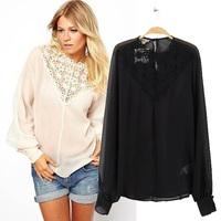 2014 spring fashion sos lace collar chiffon shirt long-sleeve shirt female shirt female top