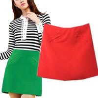 Small fresh 2014 high waist short skirt slim a-line skirt bust skirt miniskirt