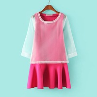 2014 women's spring twinset one-piece dress pleated tank dress organza shirt set