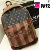 handbag women Explosion models backpack shoulder bag backpack U.S. flag stamp College Wind Spring 2014 new bags travel clutch