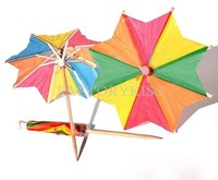 Free Shipping 50x Multi-color Eight-square Paper Umbrella Cocktail Drink Stick Party Decor 1 4007-177