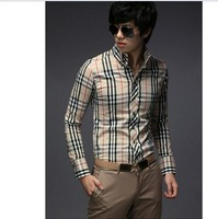 Man spring 2014 Slim Stylish men Clothing Fit Men Casual Shirts Long Sleeve Plaid T-shirts for men 2 Colors 4 Size