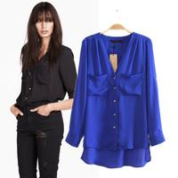 Autumn new arrival 2014 fashion double pocket mm loose chiffon shirt female shirt female top basic shirt