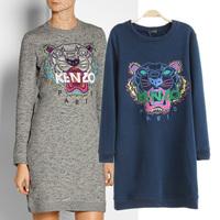 Left bank medium-long tiger head embroidery o-neck sweatshirt thickening one-piece dress