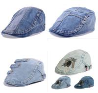 2014 New Jeans Beret Hat Men Summer Patchwork Berets Cap Women