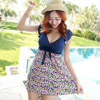 2014 fashion slim one-piece dress female plus size swimwear
