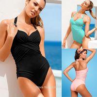 New Sexy Women Bikini Sets Push Up Piece Swimwear Solid Swimsuit