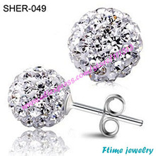 Wholesale 10mm Mix Color Crystal Micro Pave Disco Ball Silver Plated Drop Shamballa Earring Free Shipping 2Pcs=1Pair
