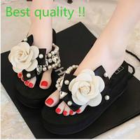 Free Shipping hot summer beach Sandals camellia CZ  diamond flowers Platform wedge med heels Flip Flops Slippers Shoes for women