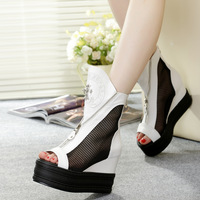 2014 Fashion spring and summer genuine leather platform shoes platform gauze open toe ladies wedges cool women boots