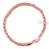 5mm Mens Womens Boys 18K Rose Gold Filled Bracelet  Byzantine Weave Link Chain Wristband Wholesale Retails
