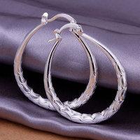 925 silver earrings fashion jewelry earrings beautiful earrings high quality small oval rhombus texture earrings E295