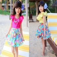 2014 New Summer Children's Clothing Children Party Dancing Dress Girls Rose Flower Chiffon Dress