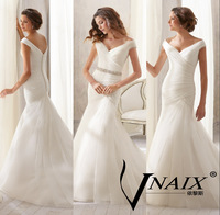 WV280 Simple Elegant Sexy Open V Back Cap Sleeve Organza Short Train Mermaid Wedding Dress Bridal Gown Vestido De Casamento 2014