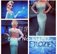 Frozen Elsa Mermaid Full Sleeve Tulle Blue Crystal Floor Length Backless Prom Dresses Evening Dress 2014 New Arrival