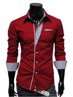 Drop Shipping M-XXXL Plus Size Tops Mens Designer Stripes Dress Shirts Tops Casual Slim long shirts men 2014 New Brand R1575