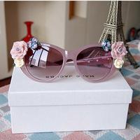 2014 NEW DIY Flower rim Designer oval rose floral sun glasses spectacles GIRL brand outdoor Summer Beach Sunglasses 670893