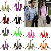 New Mens Suspenders solid Adjustable 6 Button hole Leather Fittings Braces BD701-720