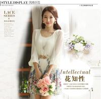 Elegant Fashion Slim Dress 2014 Summer Spring Korean Plus Size  Three Quarter Chiffon Print Women's Casual Lace Vintage Clothes