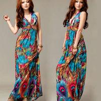 Free shipping Women's Sexy Bohemia Sundress Long Maxi Backless Padded Dress Deep V-Neck S M