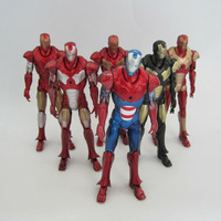 Free Shipping Marvel Iron Man 3 Action Figure Superhero Iron Man PVC Figure Toy 15cm 6pcs/set Chritmas Gift