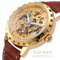 SHENHUA Steel Automatic Skeleton Mechanical Men Daily Wear Wrist Watch Free Ship