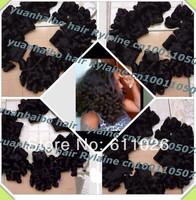 Top Aunty funmi hair Grade 6A 8-26inch 3pcs/lot 1b# bouncy curl 100 peruvian virgin human hair for black women free shipping