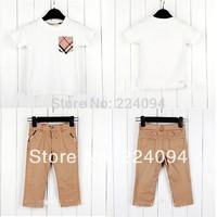 free shipping 2014 fashion  boys set clothing DIY sets boys's sets  v-neck t-shirt +pants kid's set100% cotton good quality