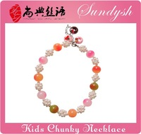 Colored Chunky Beaded Necklace For Babies Kids Jewelry Little Girl Jewelry