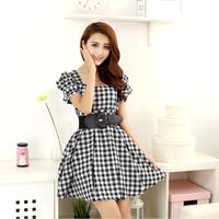 2014 summer vintage plaid one-piece dress slim waist one-piece dress 0120