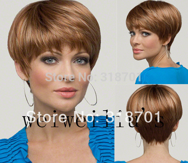 Sexy Short Straight Light Auburn with Highlights Synthetic Hair Wig free shipping(China (Mainland))