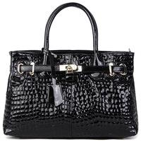 ( Black ) Crocodile Embossing Handbag Split Leather Ladies' Handbag